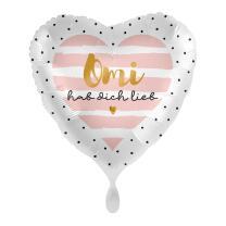 Folienballon Herz 43 cm - Omi hab dich lieb