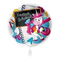 Folienballon  43 cm - Endlich Schulkind - Einhorn