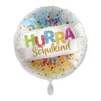 Folienballon  43 cm - Hurra  Schulkind - Konfetti