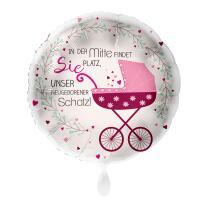 Folienballon 43 cm - Kinderwagen Mädchen - In der...