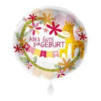 Folienballon 43 cm - Alles Gute zur Geburt - rosa - Giraffe