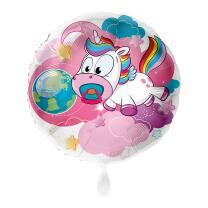 Folienballon 43 cm - Baby Einhorn mit Schnuller