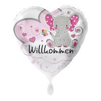 Folienballon Herz 43 cm - Elefant Willkommen - rosa ohne...