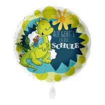 Folienballon 43 cm - Drache - Auf gehts in die Schule...