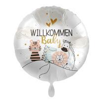Folienballon 43 cm - little friends - Willkommen Baby...