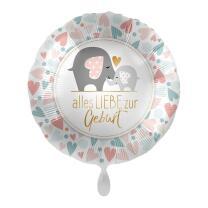 Folienballon 43 cm - Elefanten - alles Liebe zur Geburt