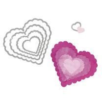 Sizzix Framelits Stanzschablone Herzen mit Zierrand (562)