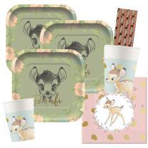 44-teiliges Premium Party-Set Bambi -  Teller quadratisch...