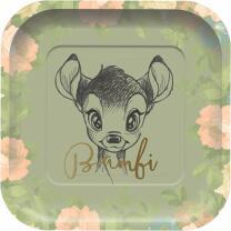 Bambi -  Pappteller quadratisch 24 x 24 cm, 8 Stück