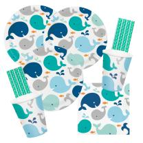 64-teiliges Party-Set Baby shower -  Kleiner Wal blau...