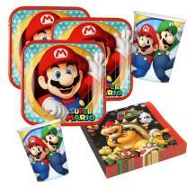 87-teiliges Party-Set Super Mario - Teller Becher...