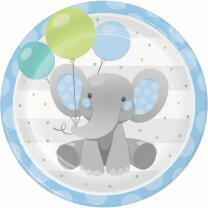 Pappteller Bezaubernder Elefant blau, 8 Stück
