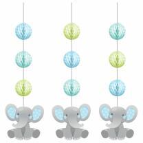 Hängedekoration Bezaubernder Elefant blau - 3-teilig