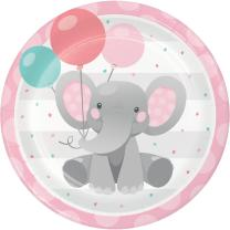 Pappteller Bezaubernder Elefant rosa, 8 Stück