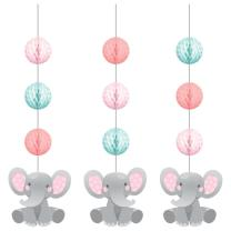 Hängedekoration Bezaubernder Elefant rosa - 3-teilig