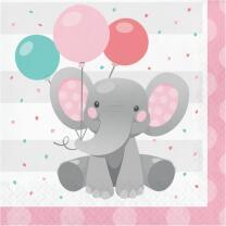 Servietten Bezaubernder Elefant rosa16 Stück 33 x 33 cm