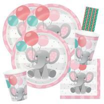 40-teiliges Party-Set Bezaubernder Elefant rosa Teller...
