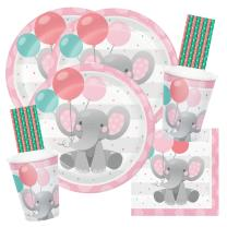64-teiliges Party-Set Bezaubernder Elefant rosa Teller...