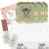 45-teiliges Premium Party-Set Bambi -  Teller quadratisch...