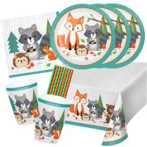 41-teiliges Party-Set Waldtiere Fuchs Dachs Igel - Teller...