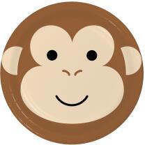 Pappteller Tiergesichter - Affe, 8 Stück 22,2 cm
