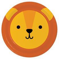 Pappteller Tiergesichter - Löwe, 8 Stück 22,2 cm