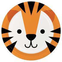 Pappteller Tiergesichter - Tiger, 8 Stück 22,2 cm