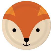Pappteller Tiergesichter - Fuchs, 8 Stück 22,2 cm