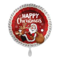 Folienballon 45 cm - Happy Christmas - Weihnachtsmann