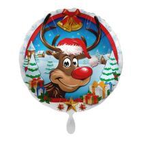 Folienballon 43 cm - Rentier mit Weihnachtsmütze
