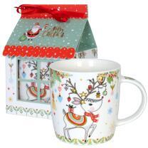 Weihnachtsbecher Rentier im Geschenkkarton
