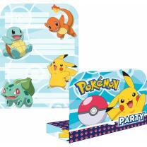 Pokemon  - 8 Einladungskarten mit Umschlag