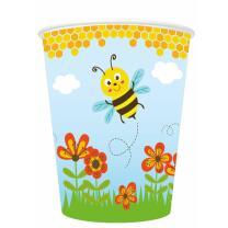 Pappbecher Freche Bienen, 8 Stück