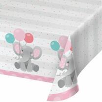 Tischdecke  Bezaubernder Elefant rosa - Papier 137 x 259 cm