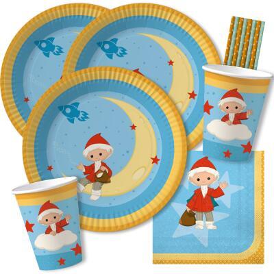 44-teiliges Party-Set - Unser Sandmännchen - Teller Becher Servietten Trinkhalme für 8 Kinder