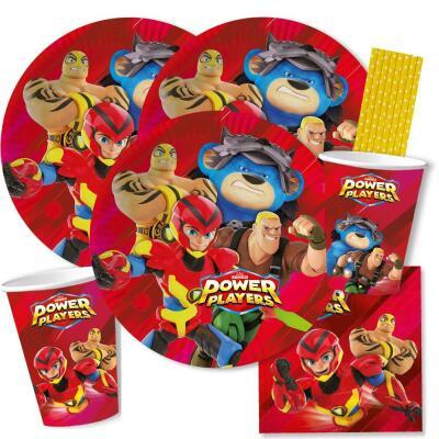 44-teiliges Party-Set - Power Players - Teller Becher Servietten Papiertrinkhalme für 8 Kinder