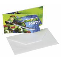Ninja Turtles TMNT Einladungskarten mit Umschlag, 6...
