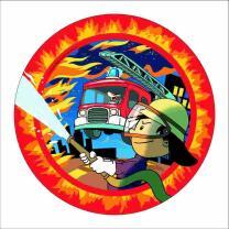 Feuerwehr - 8 Pappteller Feuerwehrmann Flo 23 cm