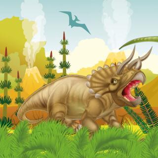 44-teiliges Party-Set Dinosaurier - Dino - Teller Becher Servietten Trinkhalme für 8 Kinder