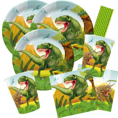44-teiliges Party-Set Dinosaurier - riesiger Dino - Teller Becher Servietten Trinkhalme für 8 Kinder