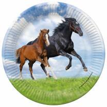 Pferd und Fohlen -  Pappteller, 8 Stück 23 cm