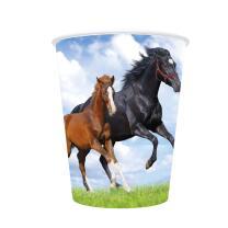 Pferd und Fohlen -  Pappbecher, 8 Stück 0,25 l