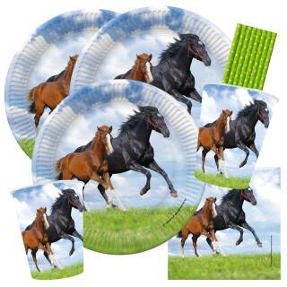 44-teiliges Party-Set Pferde - Pferd und Fohlen - Teller Becher Servietten Trinkhalme für 8 Kinder