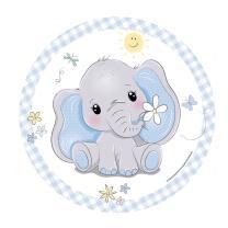 Baby Elefant - Pappteller, 8 Stück 23 cm