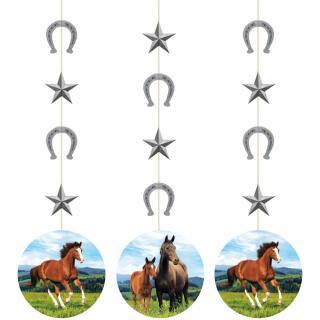 46-teiliges Party-Set Pferde - Teller Becher Servietten Girlande Hängedeko Trinkhalme für 8 Kinder