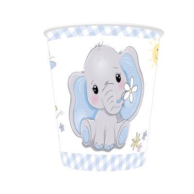 Baby Elefant - Pappbecher, 8 Stück 0,25 l