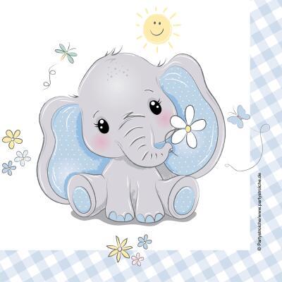 Baby Elefant - Servietten, 20 Stück 33 x 33 cm
