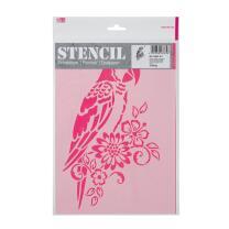 Schablone / Stencil DIN A4 - Papagei und Blumen