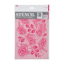 Schablone / Stencil DIN A4 - Pfauenfedern Fläche
