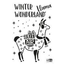 Schablone / Stencil DIN A4 - Winter Wonderland Lama